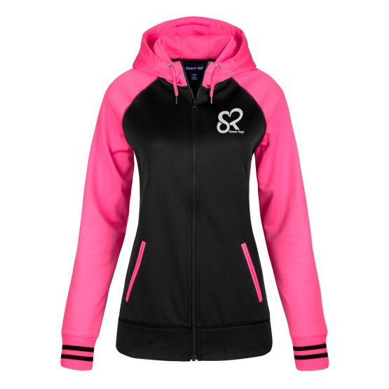 Street Ragz (SR)  Female Alexandra Black & Neon Pink Varsity Fleece Full-Zip Hooded Jacket