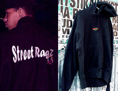 Street Ragz Clothing: Varsity Wool Jacket with Leather Sleeves (L). SR Hoodie (R).