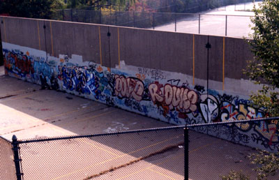 Bronx River Center Hand Ball Court. D.I.A. BX River In Back Ground