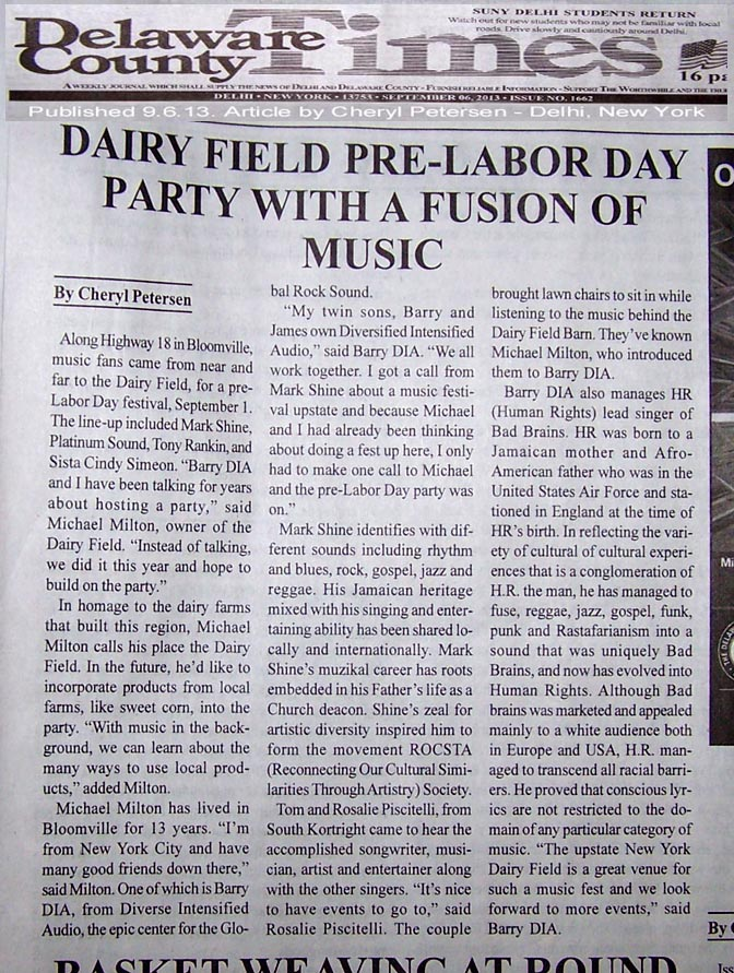 Dairy Field Delaware County Times article. Rocsta Society Summer Reggae Party & D.I.A related.
