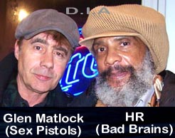 Glen Matlock of Sex Pistols and HR (Human Rights) of Bad Brains. D.I.A picture.