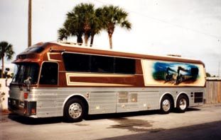 We traveled up and down the hi-ways by all means necessary -- cars (including a blue Saturn, BMW 7, Mercedes SUV, Audi Station Wagon), vans, Big Awesome and tour buses. Regarding a tour bus, nothing beats a finely tuned Eagle 10 classic. So please keep your new tour buses. This Eagle 10 above originally belonged to Willie Nelson. This made it even more Special.