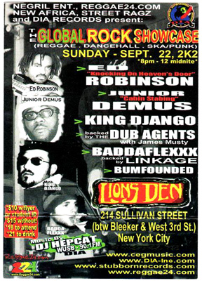 Dubb Agents backing Ed Robinson, Junior Demus and King D'Jamgo  at Lion's Den, NYC - 9-22-2002
