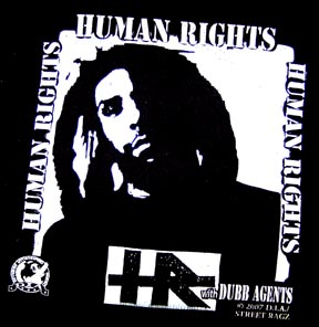 HR black and white Human Rights 'El Chuco' shirt -- front.