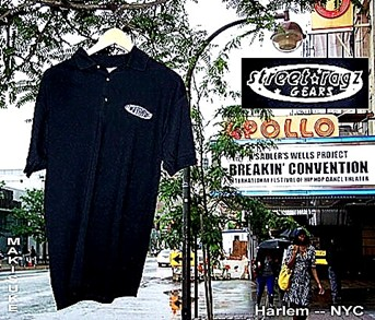 Srteet Ragz B&W Alterative Polo Shirt at the Apollo in Harlem USA.