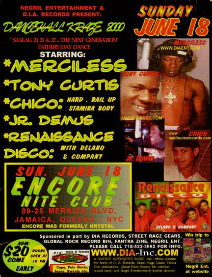 D.I.A Dancehall Kraze, New York City, Boston, Mass, Hartford, CT, June 2000, with Merciless, Tony Curtis, Chico, Ce'Cile, Renaissance, Oxtail.