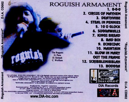 Roguish Armament Back Cover D.I.A Records