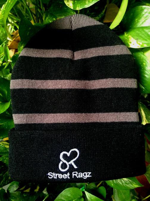 Street Ragz (SR) white logo charcoal knit winter beanie. Free Shipping.