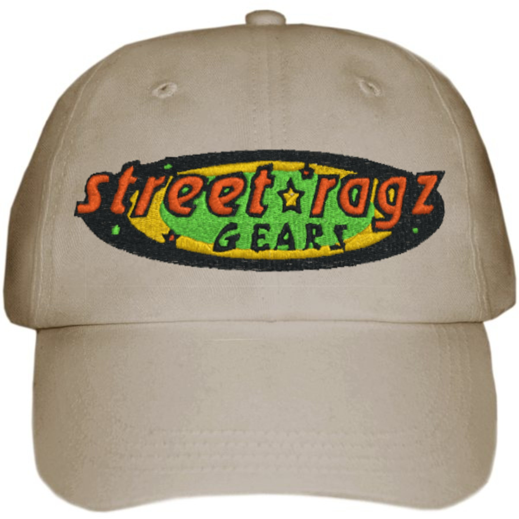 Street Ragz Green, Yellow & Red original Logo Dark Khaki Cap. FREE SHIPPING.