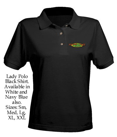 Small Street Ragz Green, Red & Yellow Classic Logo Lady Polo Black Shirt. FREE SHIPPING.