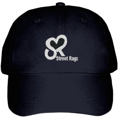 Street Ragz (SR) White Logo Design Adjustable Black Cap.