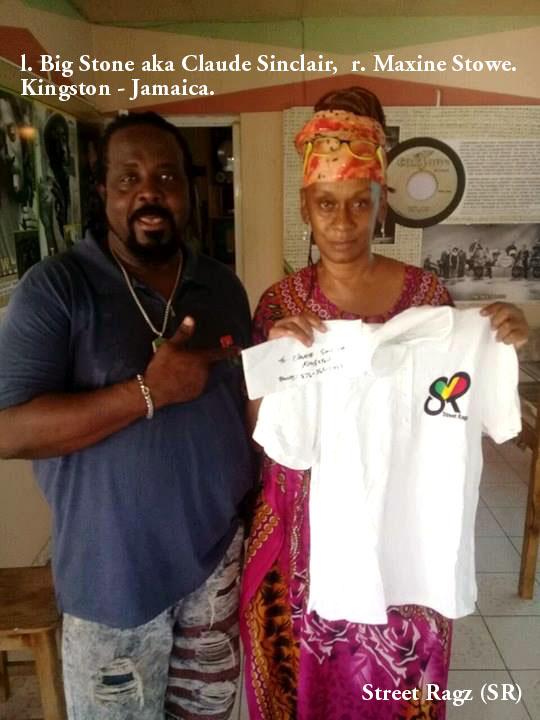 Street Ragz (SR) Garments polo shirt. Claude Sinclair (l), Maxine Stowe (r)