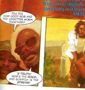 Bob Marley Graphic Novel Trilogy: 'Tales Of The Tuff Gong. LION -- exerpt 1. Characters are chatting 'bout Gong and Scratch.